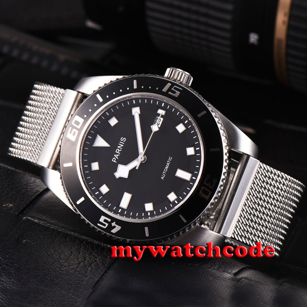лучшая цена 43mm parnis black dial black bezel date sapphire glass automatic mens watch P592