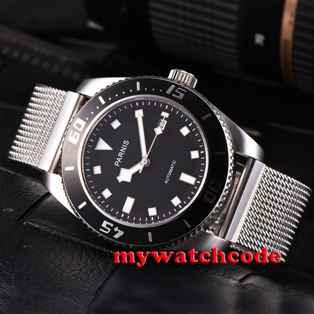 где купить 43mm parnis black dial black bezel date sapphire glass automatic mens watch P592 по лучшей цене