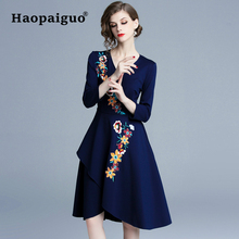 S-XXL Large Blue Embroidery Floral Dress Women V-neck Solid Casual Slim Vestidos Verano 2019 Spring Ladies Dresses
