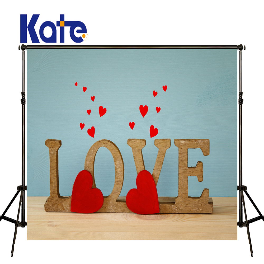 KATE 5x7ft Valentine'S Day Backdrop Photography Backdrops Wooden Love Letters Background Solid Brick Wall for Photcall Wedding 8x10ft valentine s day photography pink love heart shape adult portrait backdrop d 7324