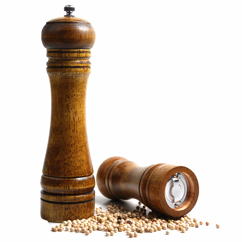 8 Inches Vintage Wooden Manual Pepper Grinder Salt And Spices Mill  Kitchen Grinding Tool Ceramic Core Grinders moulin à sel et poivre