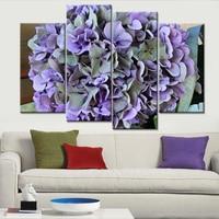 Modern Cuadros Framework Wall Decoration Modular Picture 4 Panels Big Purple Rose Flower Painting Canvas Art