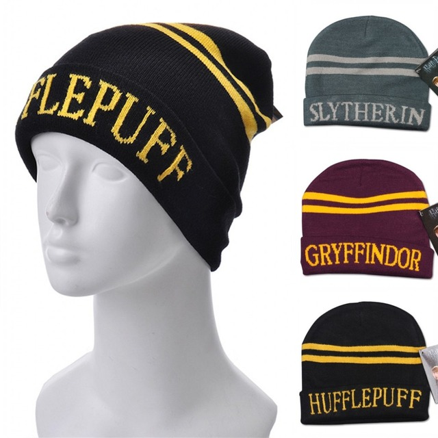 13657cc471487 2015 New Casual Harry Potter Cap 4 Color College Hats Gryffindor Caps Adult  Slytherin Beanies Ravenclaw Skullies Winter Warm Hat