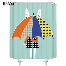 IBANO Cartoon Rabbit Shower Curtain Customized Bath Waterproof Polyester Fabric For The Bathroom