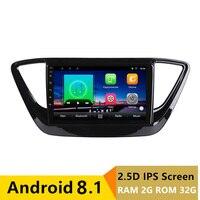 9 2G RAM 32G ROM Android Car DVD GPS For Hyundai Verna Solaris 2017 2018 Car Radio Video Player head unit Navigation stereo