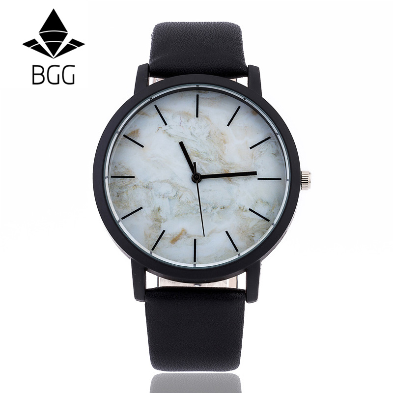 Marbling Dial 2018 BGG Brand New Fashion Casual Mens Watches High Quality Quartz Watch Men Clock relogio masculino Waterproof
