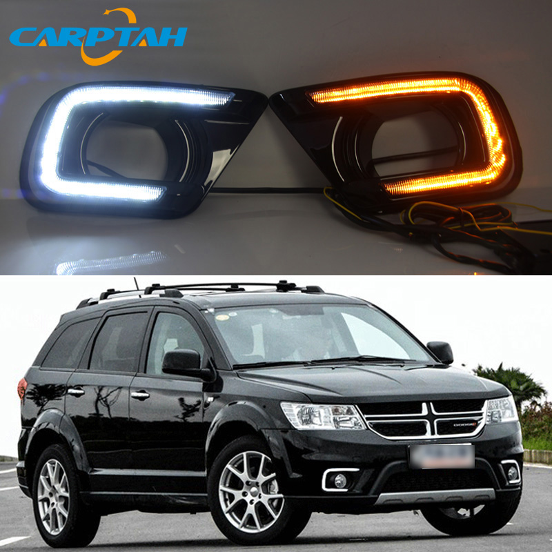 LED Daytime Running Light For Dodge Journey 2014 2015 2016 Waterproof 12V Yellow Turn Signal Indicator Light Bumper Lamp LED DRL