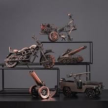 الحنين الحديد الرجعية الإبداعية الحرفية سيارة نموذج المنزل الديكور الحلي قاطرة جمع التماثيل هدايا عيد