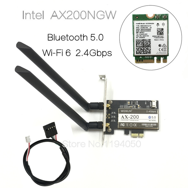 Wireless Desktop for Intel AX200NGW Wi-Fi 6 Bluetooth 5.0 Dual Band 2400Mbps PCI Express Wifi Adapter AX200802.11axWindows 10