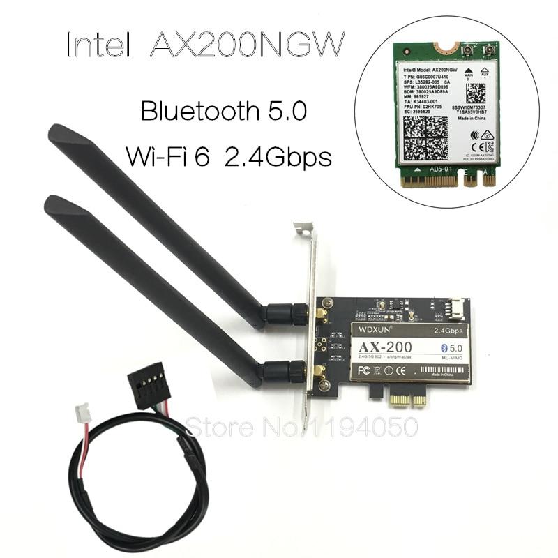 Wireless Desktop para Intel AX200NGW 6 Bluetooth 5.0 Dual Band Wi-Fi 2400Mbps PCI Express Adaptador Wi-fi AX200802.11axWindows 10