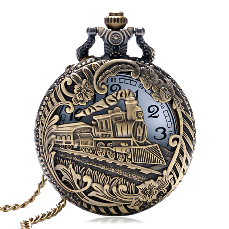 Vintage Retro Bronze Hollow Train Locomotive Steampunk Quartz Pocket Watch Women Men Necklace Pendant with Chain Birthday Gift vintage bronze train locomotive quartz pocket watch creative green dial men women pendant gift with necklace fob chain watches