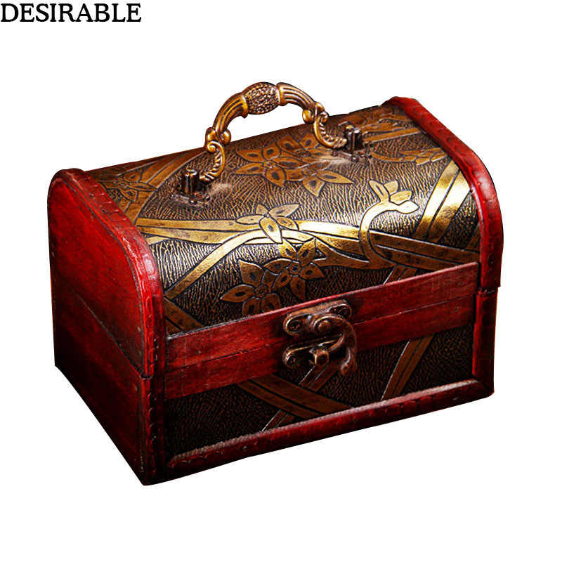 Exquisite Vintage Floral pattern Wooden Storage Box Treasure Chest secret Jewelry souvenir collection Organizer with Handle