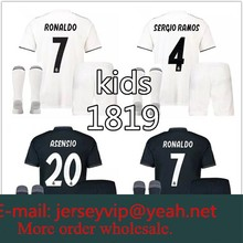 f7459b10a 2018 2019 Reals Madrided kids jersey 18 19 Home Away football camisetas Thai  shirt ronaldo arsensio sergio ramos Soccer jersey