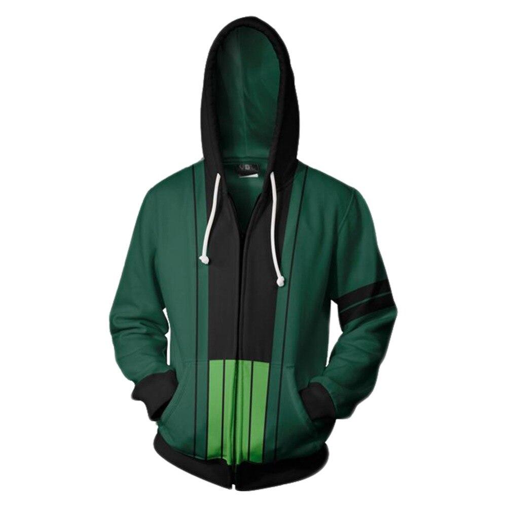 Anime ONE PIECE Hoodie Roronoa Zoro 3D Printed Hoodie Hooded Sweatshirts for Men Hoodie Autumn Zipper Jackets Cardigan Tops