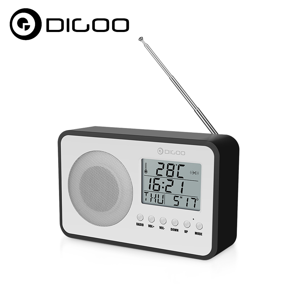 Digoo DG FR600 SmartSet Wireless Wood Grain Vintage Digital FR Radio Alarm Clock Subwoofer Sound with Temperature Display vintage wood grain color block flannel rug