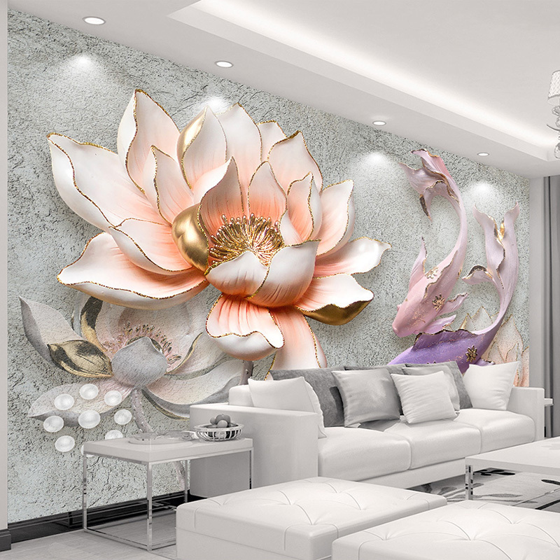 Custom Photo Wallpaper 3D Stereo Embossed Lotus Fish Large Murals Wall Painting Modern Living Room Bedroom Backdrop Decor Mural