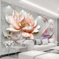 Custom Photo Wallpaper 3D Stereo Embossed Lotus Fish Large Murals Wall Painting Modern Living Room Bedroom Backdrop Decor Mural
