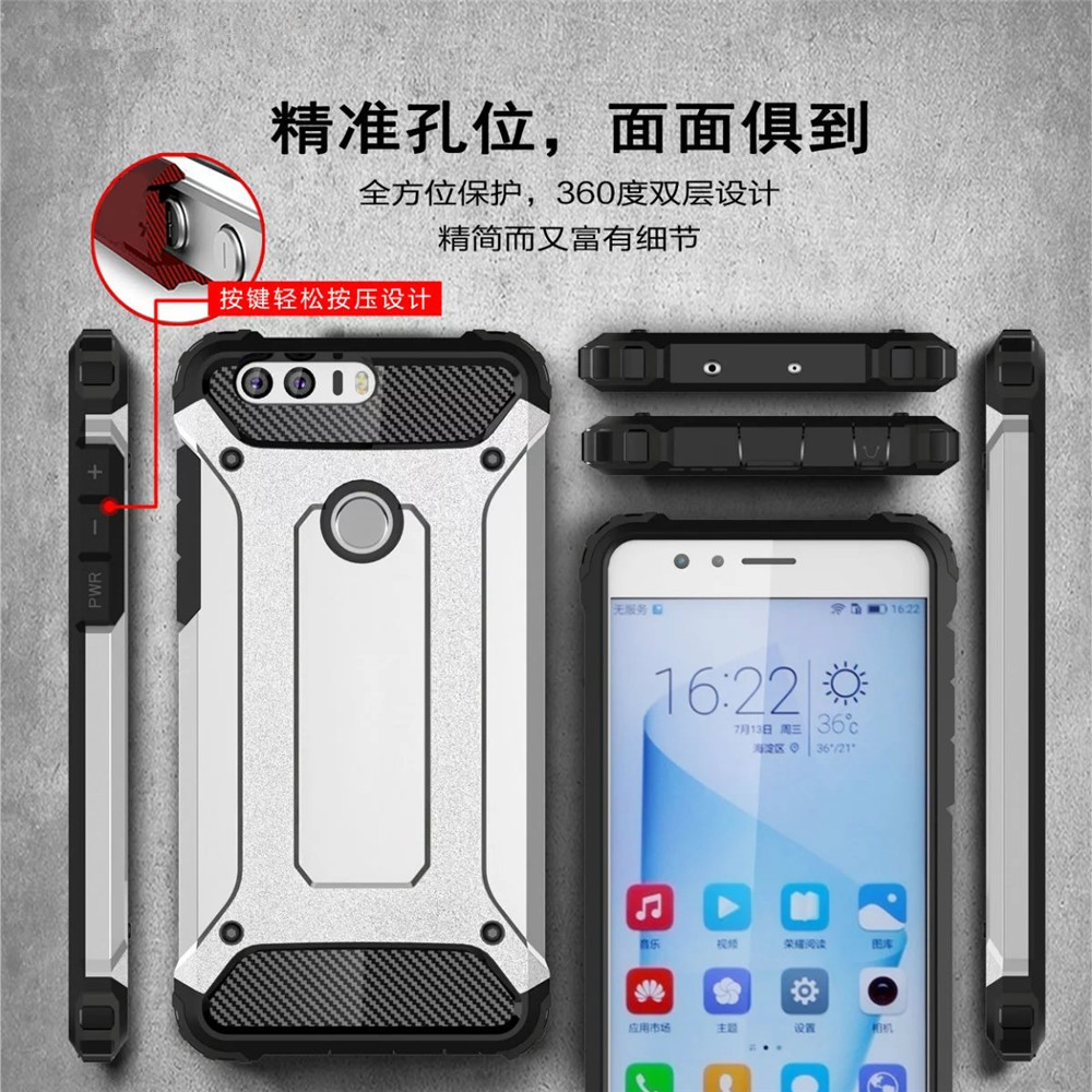Luxury Slim Armor Anti-Shock Silicone Hybrid Hard PC Phone Case Cover For Huawei Honor 5X 6X 4C Y6 Pro 7 8 lite 5C GT3 GR5 2017