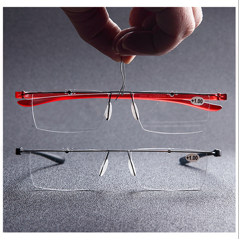 New Fashion Rimless Reading Glasses High Clear lens Presbyopia Spectacles with Leather Pouch