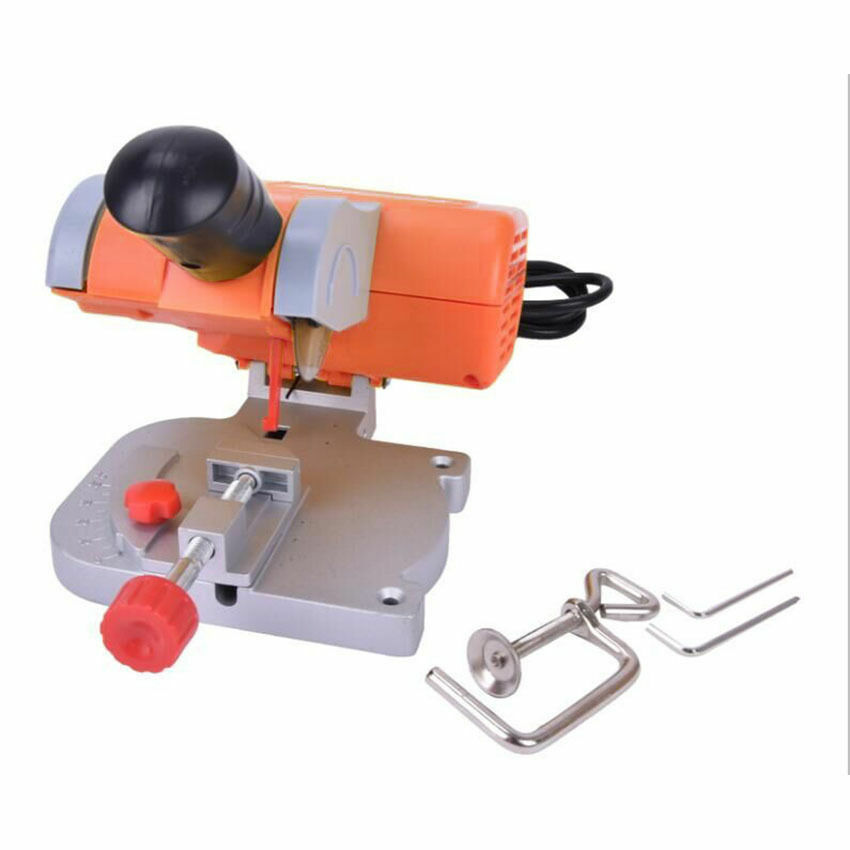 Tools : 220V Table Cutting Machine Bench Mini Cut-off 0-45 Miter Saw Steel Blade 3 8inch For cutting Metal Wood Plastic