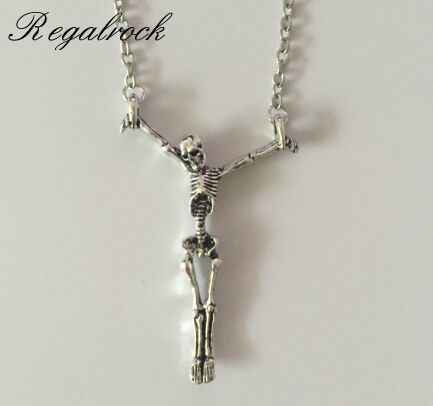 Regalrock Gothic Skull Halloween Jewelry Soul Skeleton Pendant Necklace