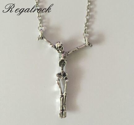 Regalrock Gothic Skull Halloween Jewelry Soul Skeleton Pendant Necklace