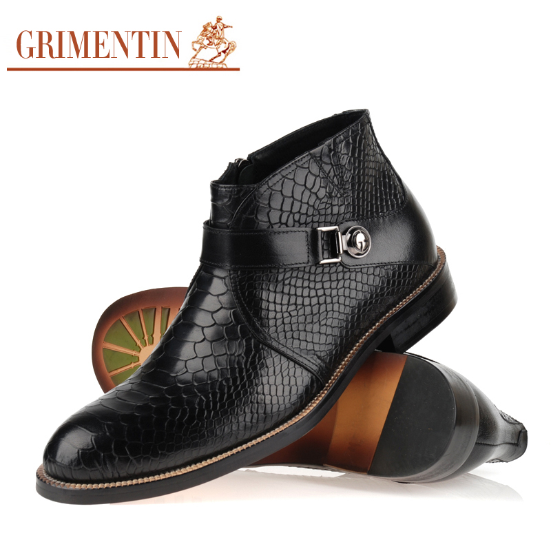 6b830a1c6cdc2 GRIMENTIN men boots genuine leather Italian black brown luxury fashion  casual ankle boots men shoes male for wedding business-in Basic Boots from  Shoes on ...