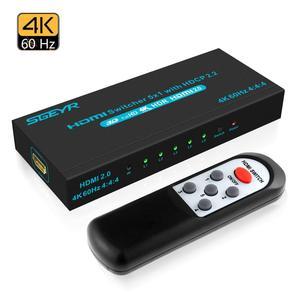 SGEYR 4K @ 60Hz 5x1 HDMI interruptor de selección, HDMI, interruptor de 5 puertos HDR IR remoto 4K HDMI, caja de selección 5 en 1, interruptor automático, HDMI Switche