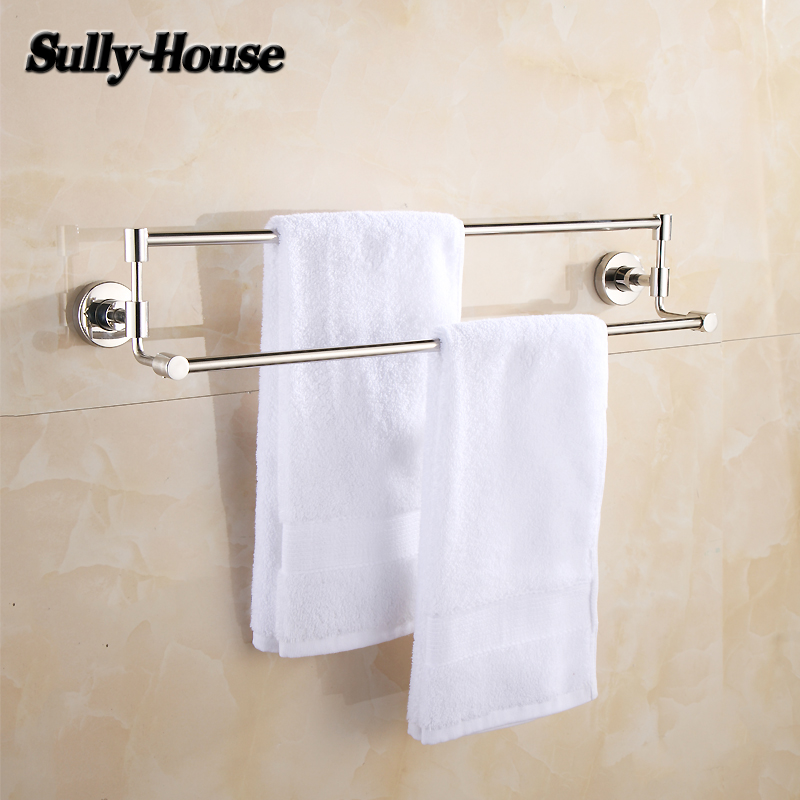 Sully House Stainless Steel Bathroom Double/Single Towel Bars,Towel Rail,60cm Towel Rack,Towel Holder,Bathroom Accessories free shipping bathroom accessories products solid 304 stainless steel nickel brushed double towel bars towel holder sus003
