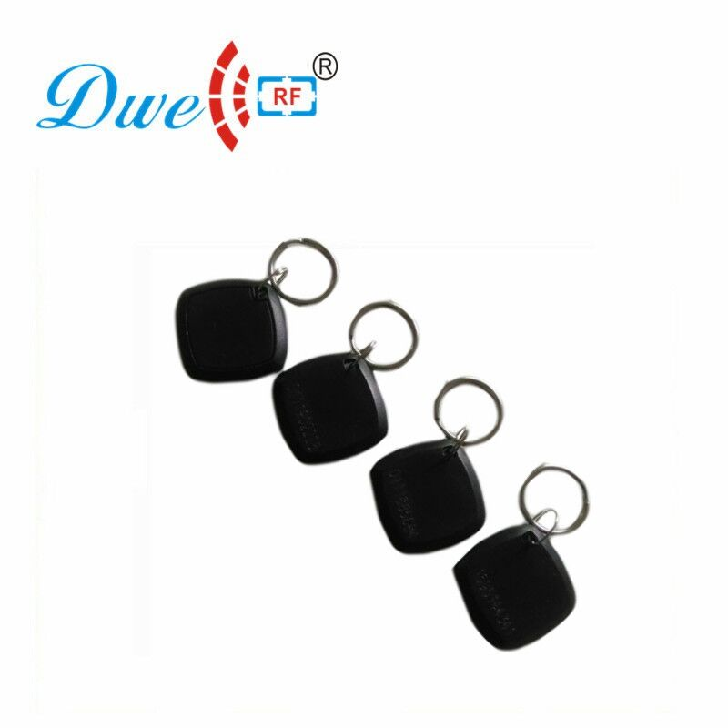 DWE CC RF 100pcs /lot access control 125khz tk4100 em4100 abs security laser card number rfid tag token Key Chains