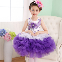 Милые девушки детское бальное платье балетки Танцы лоскутное 5 слой Детские балетные костюмы танцевальная одежда для девочек 2017070601