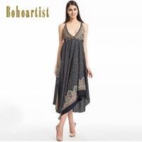 Bohoartist Women Long Dress Print V Neck Backless Lace Up Sexy Beachwear Bohemian Chic Style Sundress