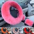 3 Pcs Universal Use Lã Australiana Macio Morno do Inverno Tampa Da Roda de Direcção 38 cm Car Styling Auto interior Acessórios de Decoração