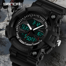 SANDA New Shock Thermometer Fashion Mens Sports Watches LED Digital Watch Male Luxury Brand Military Waterproof