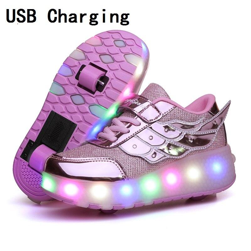 Детские светящиеся кроссовки с двумя колесами; цвет золотой, розовый светодиодный светильник; обувь для катания на роликах; детская обувь с подсветкой для мальчиков и девочек; Зарядка через USB