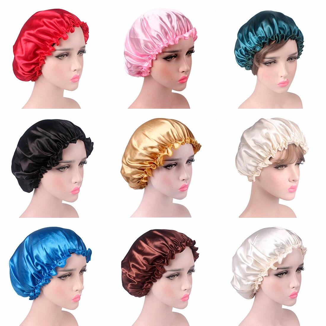 Soft Sleeping Hat Night Sleep Cap Hair Care Satin Bonnet Nightcap For Women SA