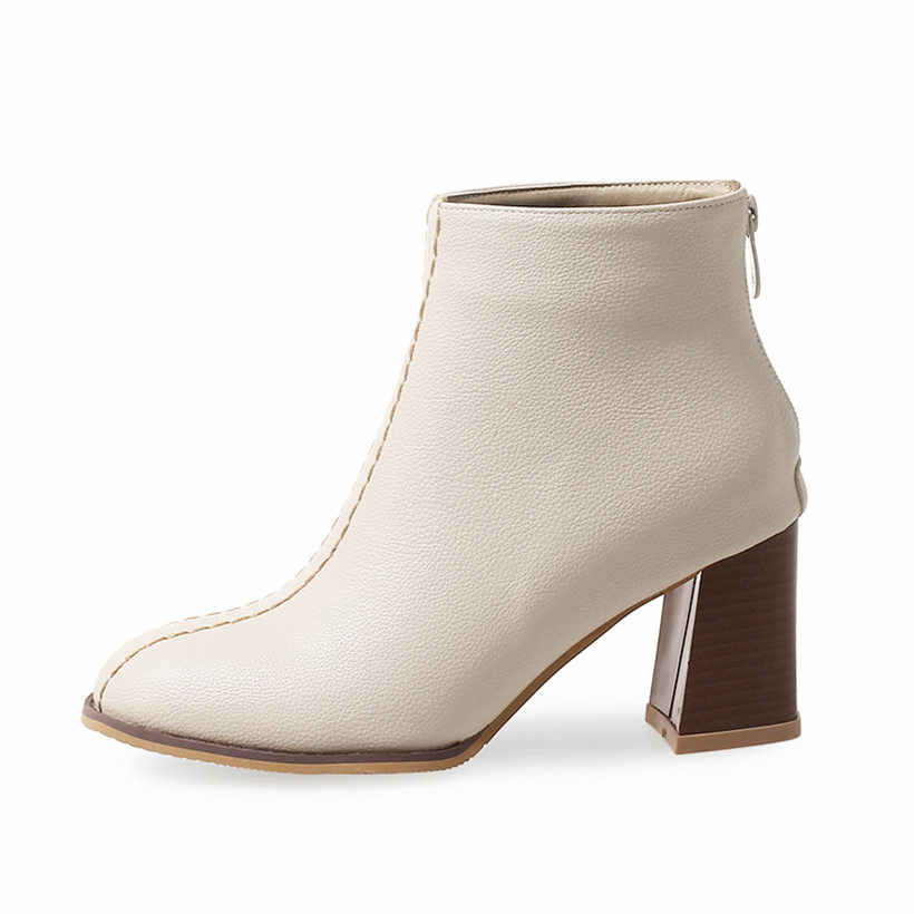 313090a3a93fb ... Plus Size 46 Winter Women Ankle Boots 7cm High Square Block Heel White  Casual Office Party ...