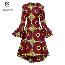 African Dresses For Women Fashion ankara Print dresses Long Sleeves african traditional dress