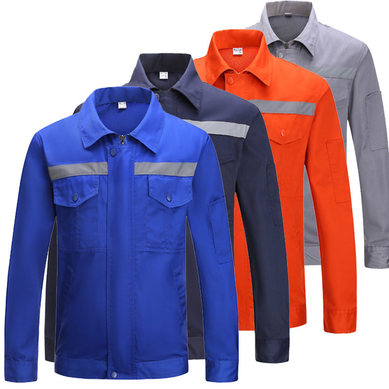 Hi Vis Long Sleeve Poly Cotton Light Weight Reflective Safety Work Jacket Workwear Shirt