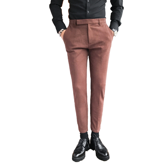 18339d490 Black Coffee Pants Men Brand New Slim Fit Casual Dress Men Pants Solid  Simple Business Formal Trousers Men s Clothing Sale 36-29