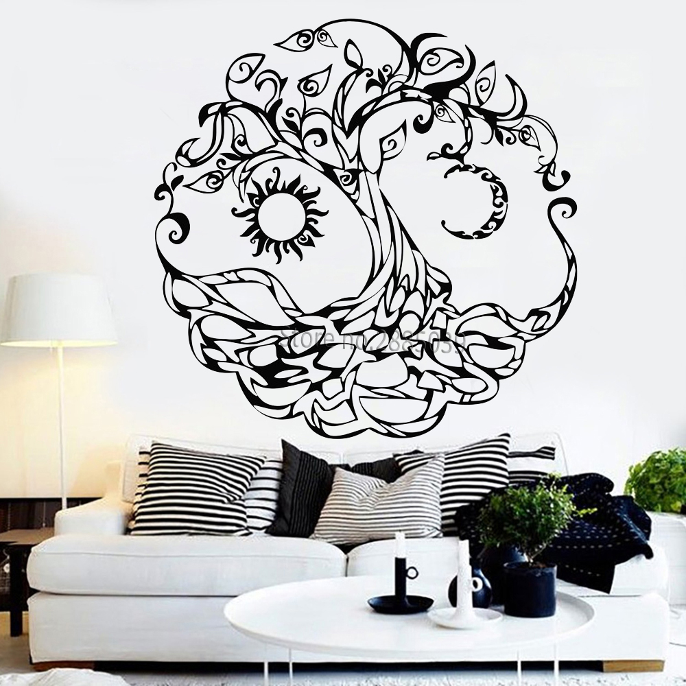 US $7 98 25% OFF|Abstract Tree of Life Vinyl Wall Decal Tribe Symbol Moon  Sun Day Night Stickers Wall Mural Art Bedroom Living Room Decor LC1023-in