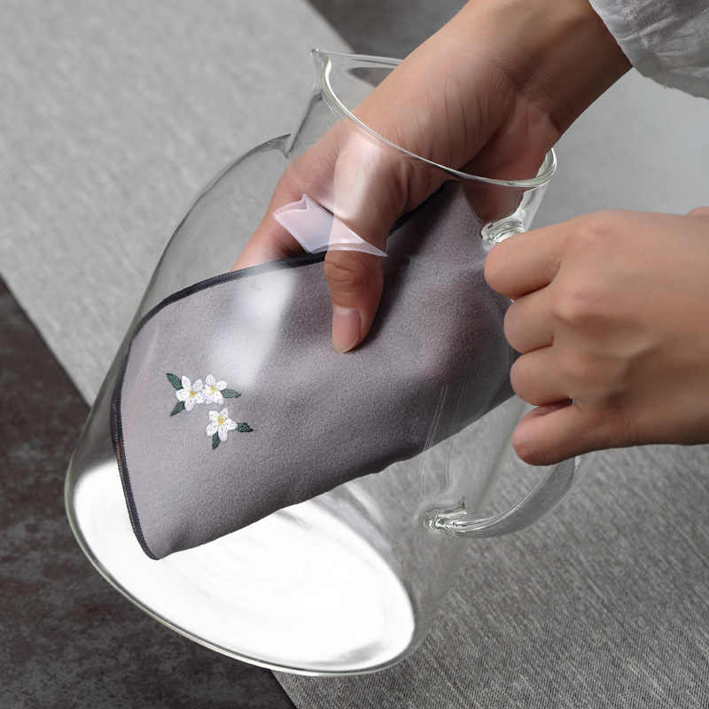 2 шт. Ретро Китайский стиль вышивка чайные салфетки утолщенный абсорбирующий хлопок льняное чайное полотенце кунг-фу чайный стол Тряпичные чайные аксессуары