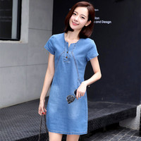 2b632ede81e6e New 2017 Denim Dress Women Blue Short Bodycon Dress Short Sleeve Mini  Casual Female Denim Sundress