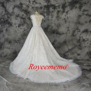 Image 5 - ファッションのレースのウェディングドレスシャンパンとアイボリーウェディングドレスカスタムメイド卸売価格ブライダルドレス