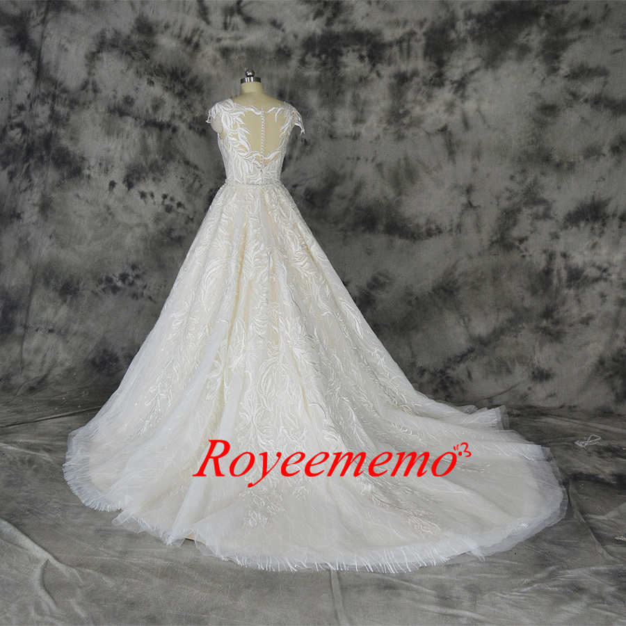 Image 5 - Fashion lace wedding dress champagne and ivory wedding gown custom made wholesale price bridal dressWedding Dresses   -