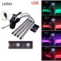 4PCS 48leds USB Music Sound Active Car Interior LED Strips Light DC 12V Auto Atmosphere Lights