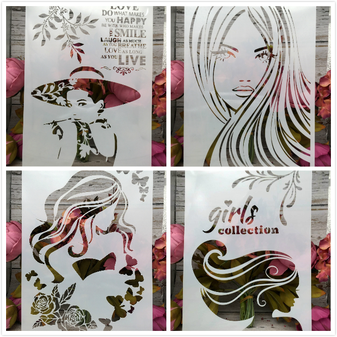 4Pcs/Lot A4 Fashion Lady Girl Long Hair DIY Layering Stencils Painting Scrapbook Coloring Embossing Album Decorative Template