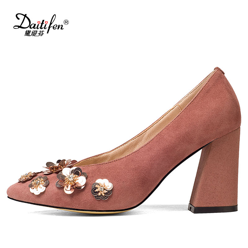 Daitifen sheep suede thick high heel wedding shoes woman fashion party shoes pumps women flower high heeled pump pointed toe