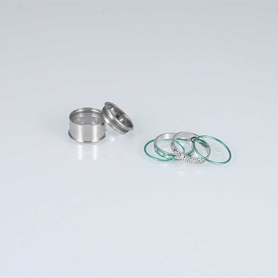 Floya ธรรมชาติแหวนผู้หญิง Cyan Enamel Leaf สแตนเลสค๊อกเทลแหวนทองแดงเปลี่ยนได้ Arctic Symphony แหวน