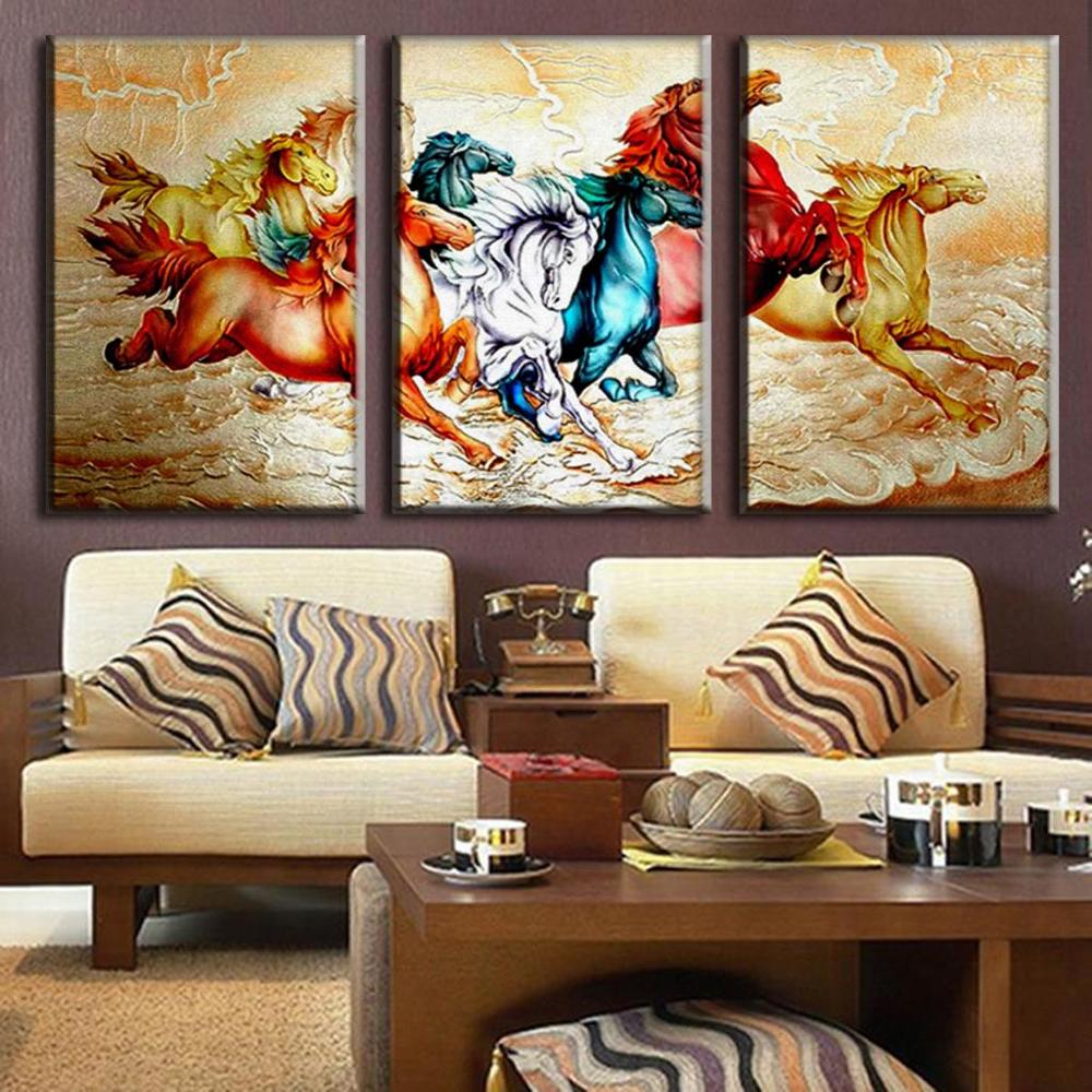 Horse sticker wall art - Tradictional Chinese 3 Pieces Unframed Animal Canvas Oil Painting Running Horses Print Wall Art Picture Fashion